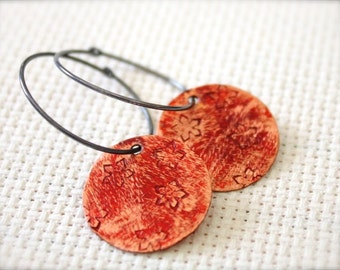 Oxidized Sterling Silver Hoop Earrings with Red Distressed Patinated Copper Floral Stamped Discs - Blooming // A207