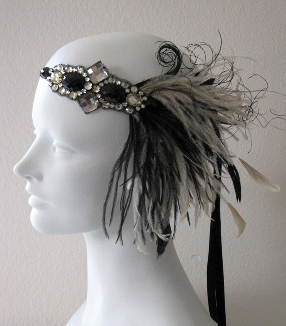 Jazz Age Flapper Feather Headband Champagne And black