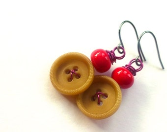 Tan Button Earrings with Pink