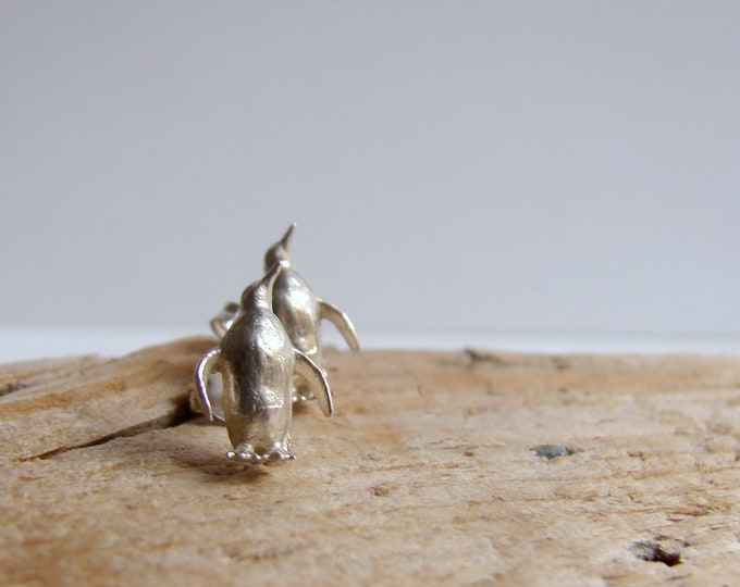 Animal Jewelry Penguin Silver Studs Earrings Animal Earrings Gifts for Her Under 50