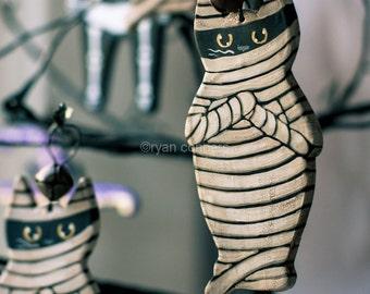 Mummy Cat Halloween Clay Folk Art Ornament