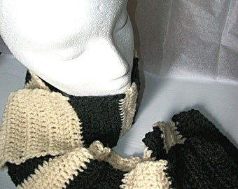 Crochet Scarf, Charcoal Grey and Cream Stripes