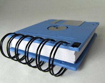 Floppy Disk Notebook JUMBO Light Blue Computer Disk Recycled Geek Gear Blank Mini 125 sheets