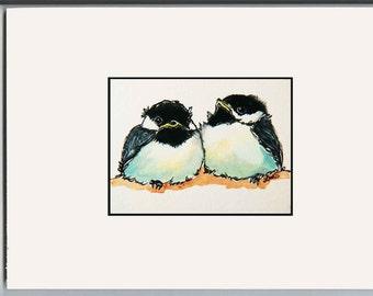 Baby Chickadees - Birds Art - Childs Room - Nursery art - Print of Ink and Watercolor art