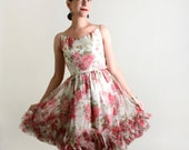 1960s Rose Dress - Vintage Flower Girl Mini Party Dress - XXS or Teen Girl Kid Children