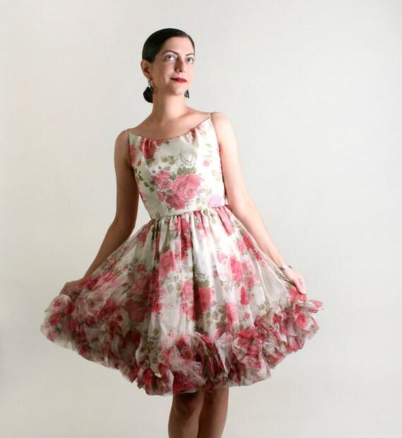 1960s Rose Dress - Vintage Flower Girl Mini Party Dress - XXS or Teen Girl Kid Children