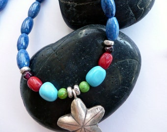 Handcrafted Semi Precious Stone Turquoise Lapis Coral Garnet Sterling Silver Star Charm OOAK Bohemian Southwestern Gift for Her Necklace