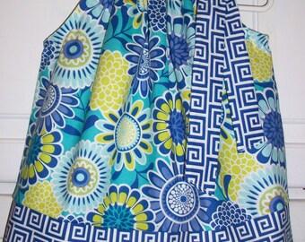 Pillowcase Dress with Flowers Sassari Floral Dress Greek Keys Spring Dress Summer Dress baby dress toddler dress girls dress Sister Dresses