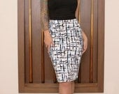 LIMITED EDITION Atomic Brush Plain Jane pencil skirt rockabilly psychobilly pinup retro 50's- XL
