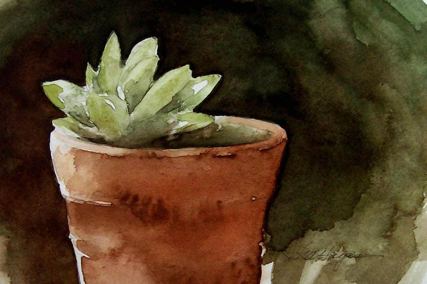 Succulent In Terra Cotta Flower Pot Watercolor Painting