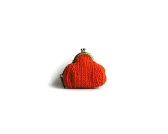 Orange Coin Purse Knitted
