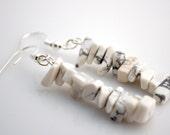 White Stone Chip Earrings
