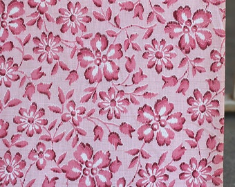 4 1/4 yards vintage 50s fabric - pink floral cotton fabric