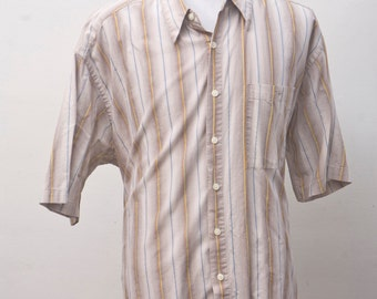 Men's Shirt / Vintage Summer Shirt by Pierre Cardin / Size XL