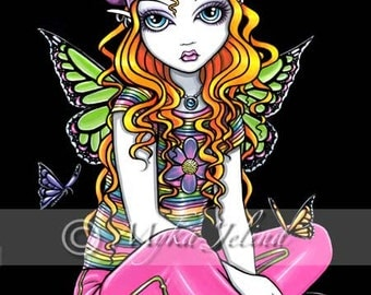Sunny Candy Rainbow Butterfly Fairy 8x10 Signed PRINT