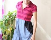 SALE 30% golf shirt tshirt dress with stripes medium