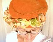 Orange VELVET pill box hat / 50s 60s vintage hat,  silk flowers, fall wedding