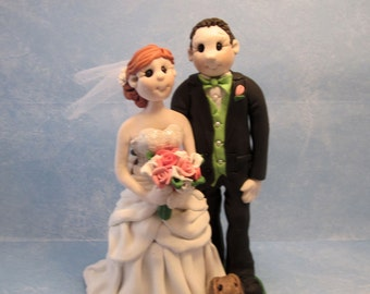 Wedding Cake Topper, Custom Cake Topper, Military, Bride and Groom with  Pets,  Personalized, Polymer Clay, Keepsake
