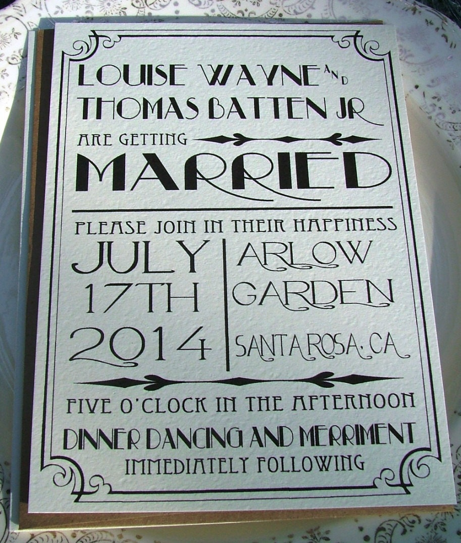 1940s Wedding Invitations: Wedding Invitations: Great Art Deco Hollywood Old Hollywood