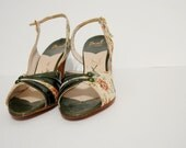 1950s Shoes / Vintage Shoes / Floral Peep Toe Shoes / English Garden