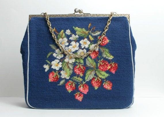Vintage Tapestry Handbag / Oversize Needlepoint Handbag / Victorian Handbag Purse / Strawberry Patch