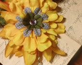 Calliope... rich marigold yellow autumn pin up hair flower pick