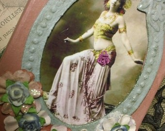 Mata Hari altered assemblage collage paper mache keepsake art  box