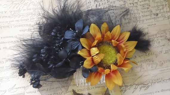 Hazel - Orange and Black Floral with Black Feathers and Tulle Fascinator Gothic Wedding Fall  Bridal Hair Comb