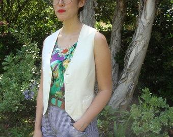 Vintage Fitted Creme Vest S