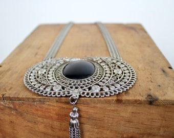 Onyx Necklace • Onyx Cabochon Necklace • Silver Necklace • Tassel Necklace • Tribal Necklace • Silver Filigree Necklace • 60s Silver Jewelry