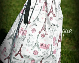 Girls Pillowcase Dress Paris Eiffel Tower Fabric with a Large Black Bow at One Shoulder. Sizes 6mo - 5T.  Sizes 6-8 Three Dollars More