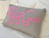 ON SALE Grey lumbar linen pillow cover with retro neon design
