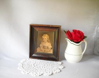 Vintage Print Victorian Girl Print Framed Print Shabby Chic Cottage Style