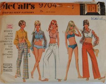 "1960s vintage original McCall's 9704 sewing pattern blouse, top, pants, bikini Bust 31"""