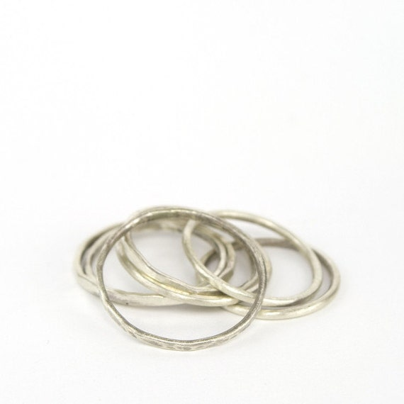Simplistic Bands: Simple Sterling Silver Bands Stackable Rings