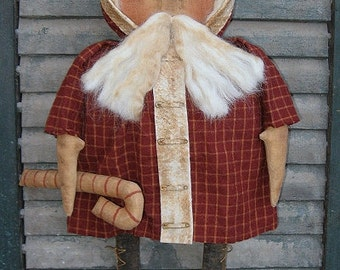 Olde St. Nick EPATTERN - primitive country christmas santa claus cloth doll craft digital download sewing pattern - PDF - 1.99
