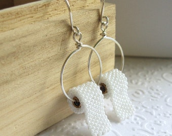 Hand beaded Toilet Paper earrings, allow 2 weeks before shipping