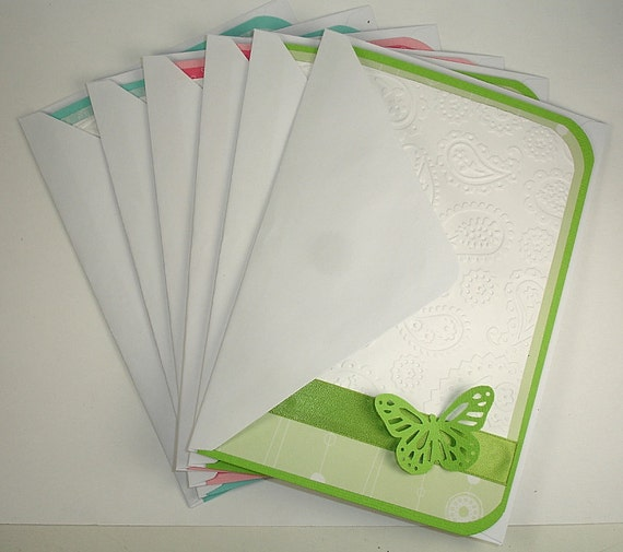 Handmade Paisley Embossed Butterfly Greeting Card Gift Set of Six
