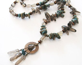 Impression Jasper, Smoky Quartz Long Necklace Beaded Tribal Teal and Brown, Dangling Pendant Necklace