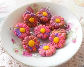 Flower Charm Series - 6pcs - Purple Pink