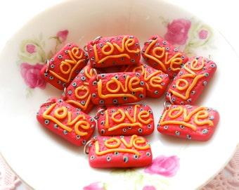 8pcs Mini Word Charms -  Love