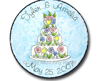 11 inch Personalized Wedding Plate - Spring Flower Wedding Cake Design