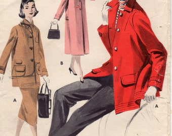 Vintage Butterick 7611 Coat and Jacket Sewing Pattern  Size 16 Bust 34