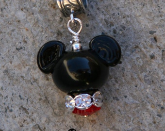 Shorter European Mr Mickey Mouse Style Disney Inspired DeSIGNeR Lampwork Bracelet Charm Red Black Disneyland Magic