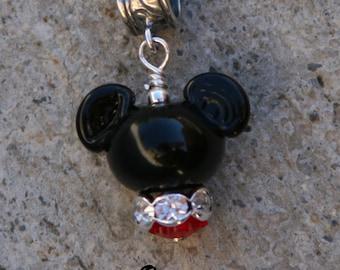 Shorter European Mr Mickey Mouse Style Disney Inspired DeSIGNeR Lampwork Bracelet Charm Red Black Disneyland Magic