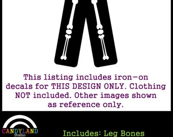 Leg Bones to Match Pregnant Skeleton Costume DIY Iron on for Maternity Shirt