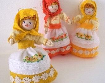 Thanksgiving decoration Felt Art Doll Pilgrim Girl Piksee Holiday ornament, Felt Bendy dolls, Felt ornaments, felt decorations