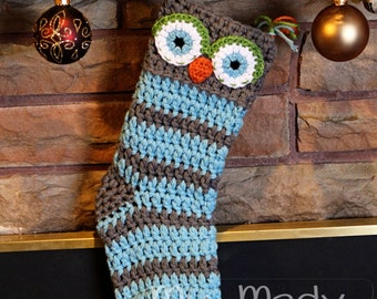 Customize your own Owl Christmas Stocking Choose your own colors Great Gift for Baby first Christmas