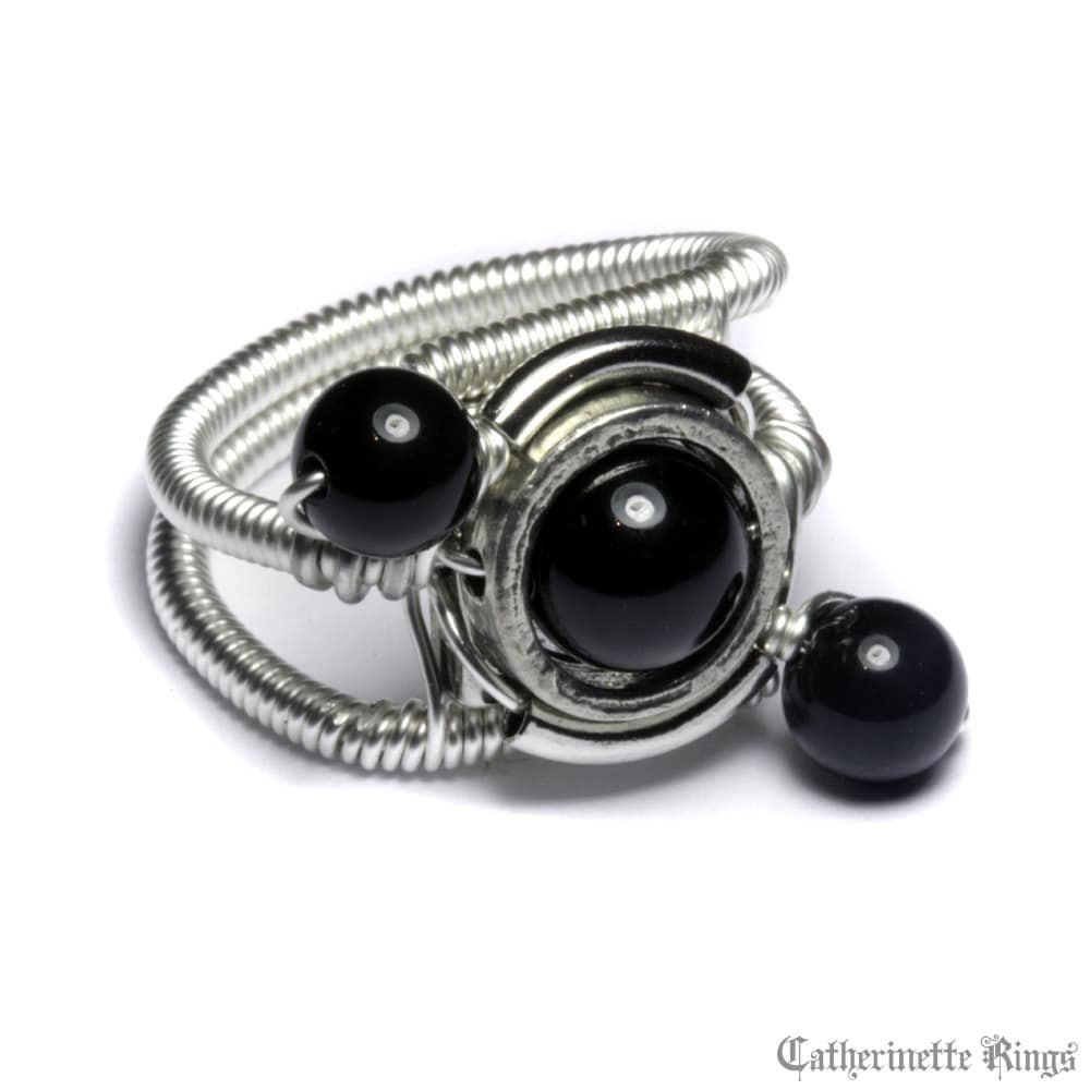 onyx ring cyberpunk jewelry ring black onyx orbit