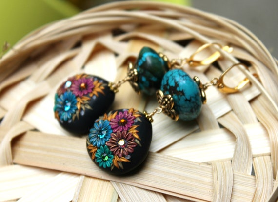 Chunky Turquoise and Black and multicolor clay floral earrings in gold - The Silken Kimono
